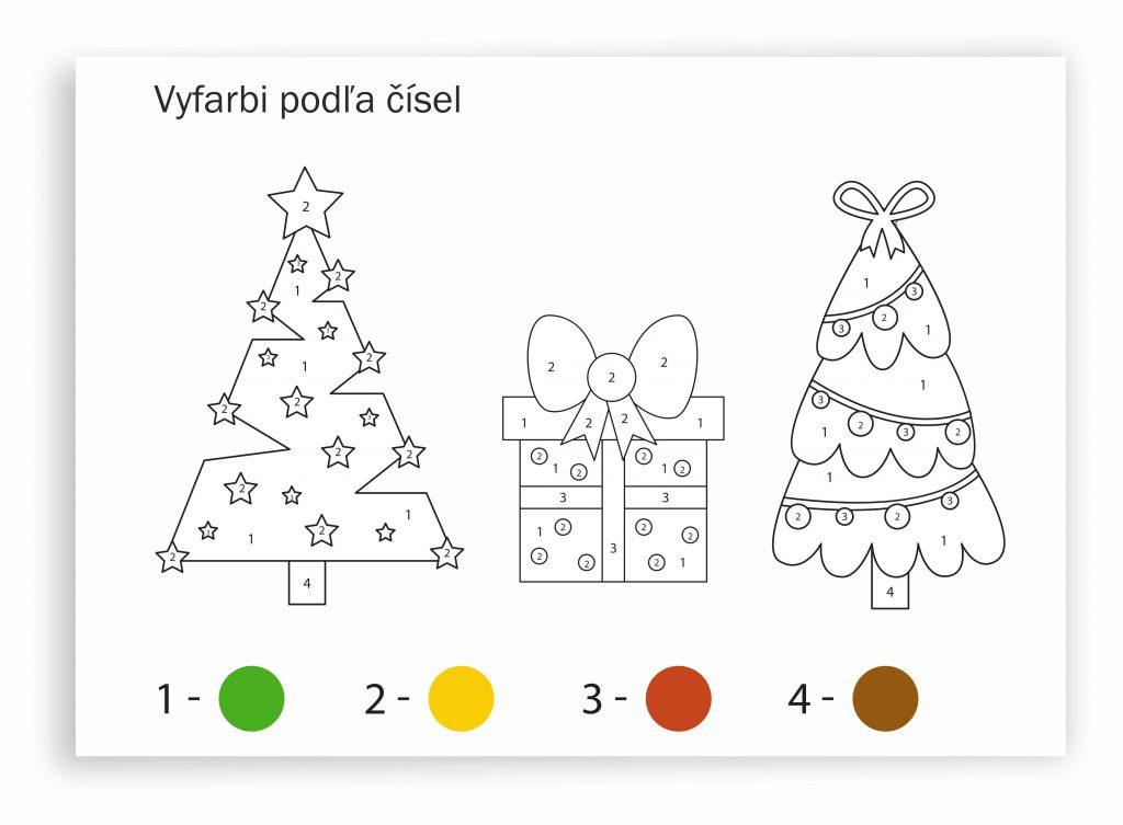 Pracovný list - vyfarbi podľa čísel. Pre predškolákov - Vianoce