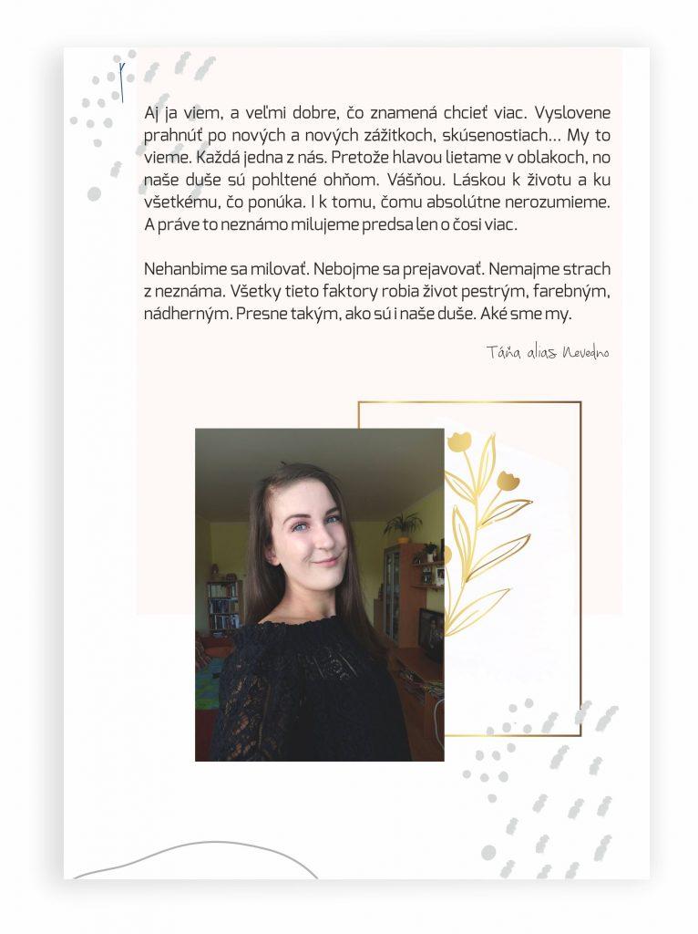 Táňa Sadloňová píše do magazínu ženám. Články o povzbudení. Motivácia. Sebahodnota