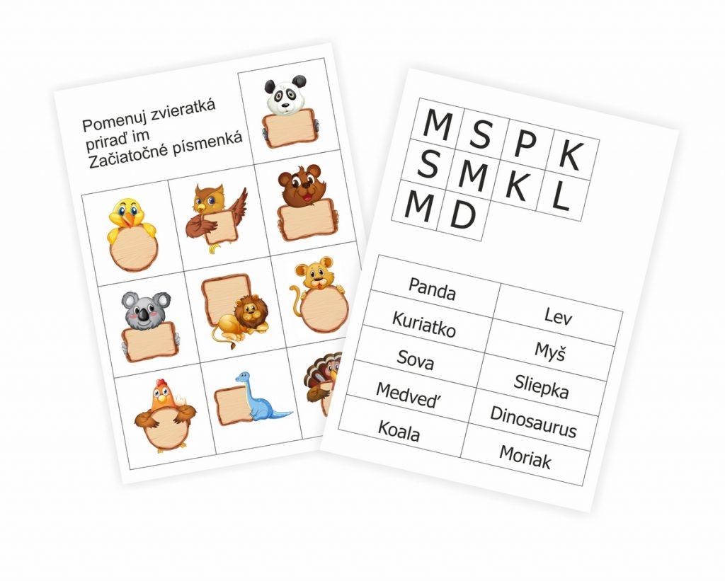 Pracovný list pre deti zdarma. Pomenuj zvieratká a nauč sa začiatočné písmenká. Pracujte s deťmi a učte sa s nimi.