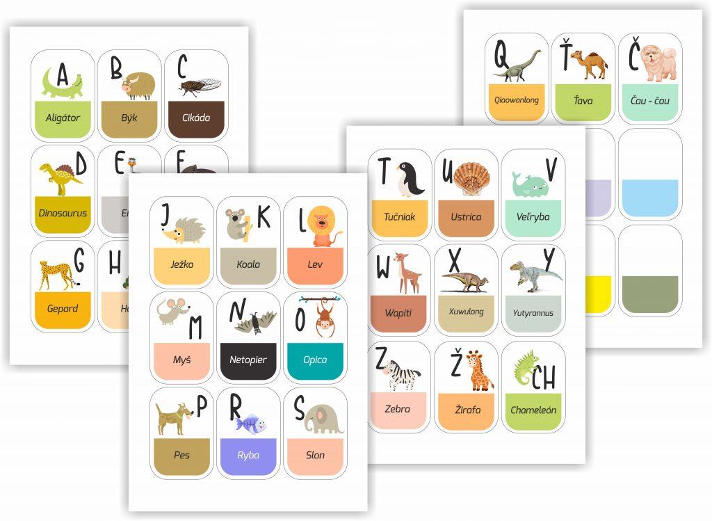 Zvieracia abeceda - pracovný list zdarma. Tvorenie a učenie sa pre Vaše deti